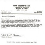 Faith Baptist Church testimonial for Contich Construction
